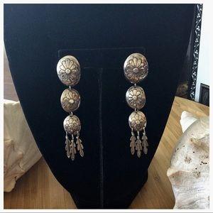 Sterling Silver 3 Inch Dangle Earrings.